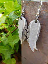 Grey stacked feather earrings