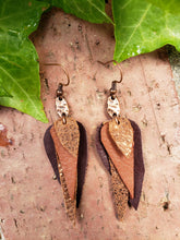 Copper stacked leather dangle earrings