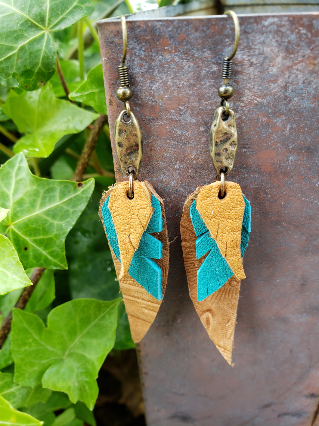 Sand stacked leather dangle earrings