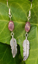 Rosy beaded feather earrings
