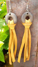 Wooden hoop mustard fringe earrings