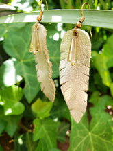 Crystal drop gold feather earrings