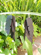 Black layered feather earrings
