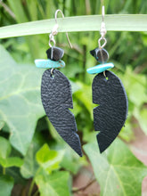 Onyx and Howlite chip black feather earrings