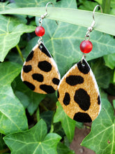 Leopard hair on hide earrings