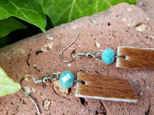 Crystal and hair on hide leather bar earrings