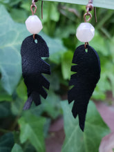 Rose quartz beaded feather earrings