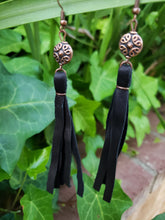 Copper beaded black tassel earrings