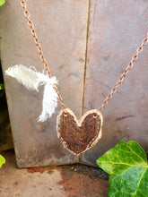 Brown tooled leather heart necklace