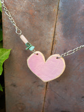Pink leather heart necklace