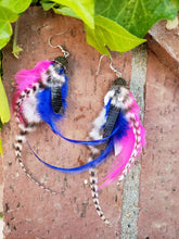 Boho pink and blue feather earrings