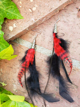 Black and red long feather earrings