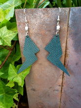 Teal metallic lightning bolt earrings