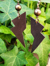 Brown lightning bolt earrings