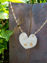 Gold acid washed heart necklace