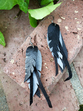 Black and grey layered feather earrings