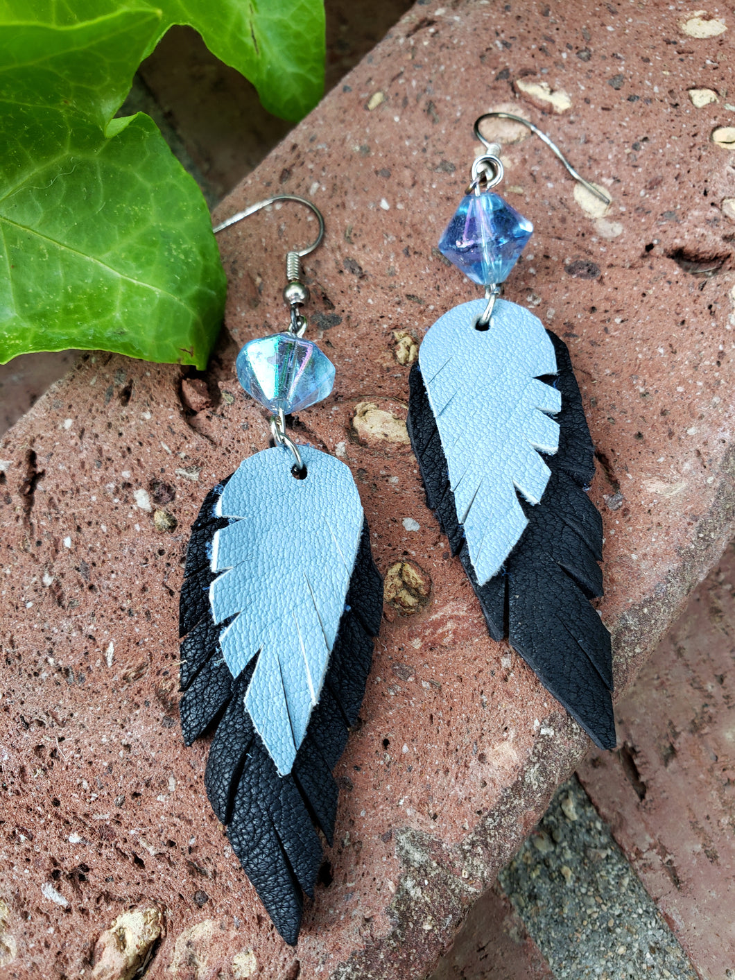 Blue bird leather feather earrings