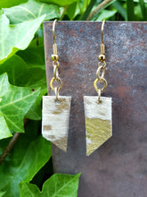 Metallic hair on hide leather bar earrings