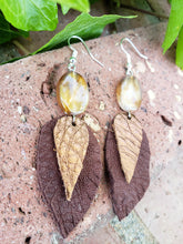 Bronze metallic leather earrings