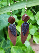 Navy and brown leather earrings