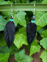 Peacock beaded black feather earrings