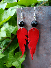 Red leather feather earrings