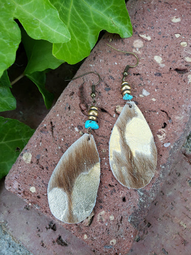 Acid wash leather earrings