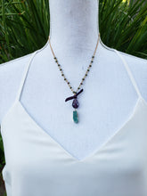 Druzy drop lariat necklace