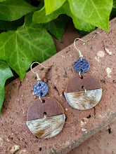 Brown cowhide geometric circle earrings