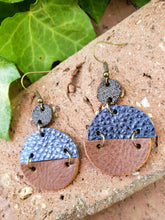 Blue metallic geometric circle earrings