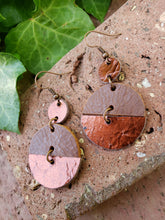 Copper geometric circle earrings