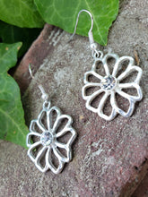 Silver floral bling earrings