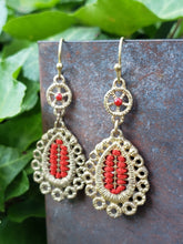 Matte gold embroidered earrings