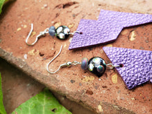 Electric purple lightning bolt earrings