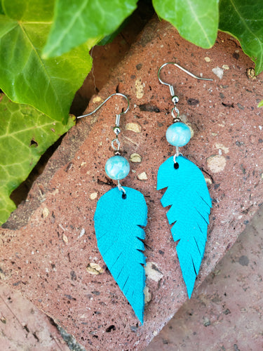 Amazonite and turquoise feather earrings