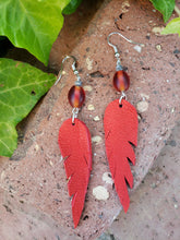 Cardinal red leather earrings