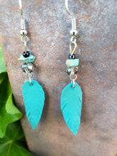 Petite turquoise feather earrings