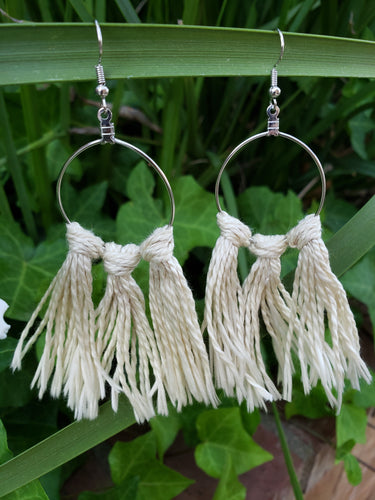 Creme macrame fiber earrings