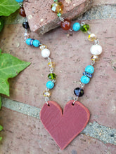Long crystal heart necklace