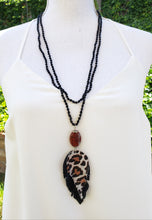 Leopard leather feather necklace