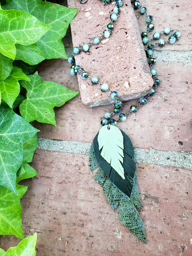 Camo feather necklace