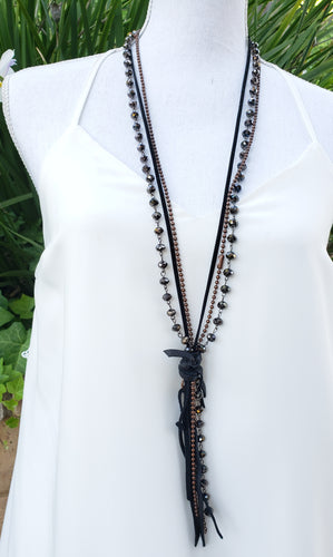 Black layered tassel necklace