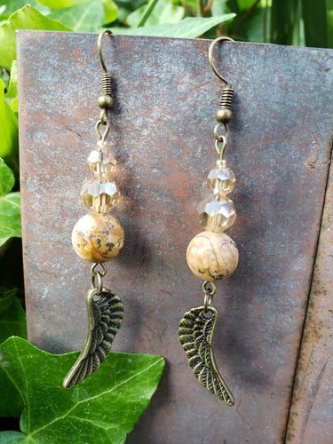 Antiqued gold angel wing earrings