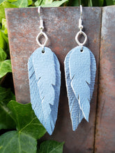 Baby blue layered feather earrings