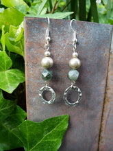 Army green earrings