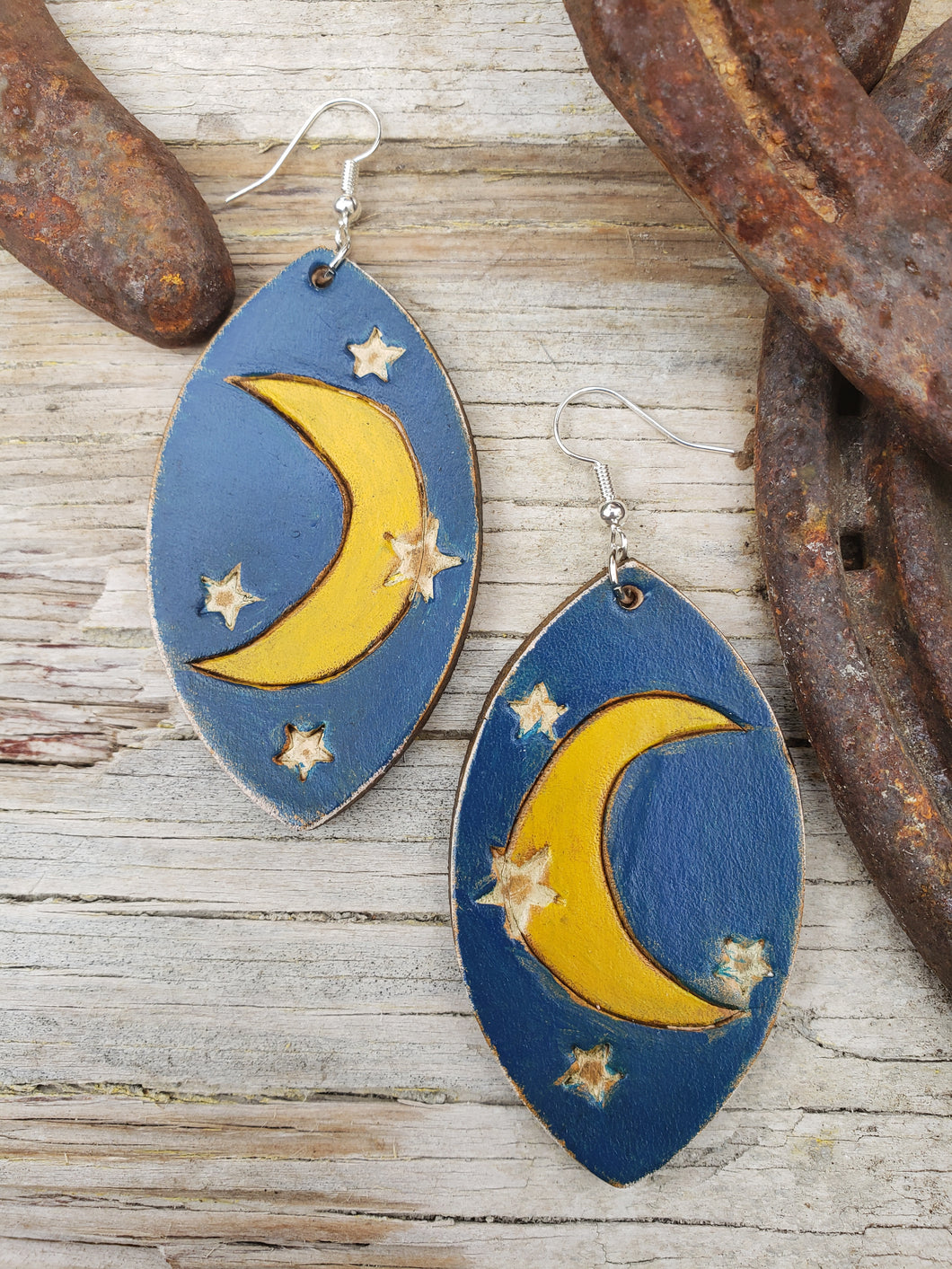 Desert nights tooled leather earrings