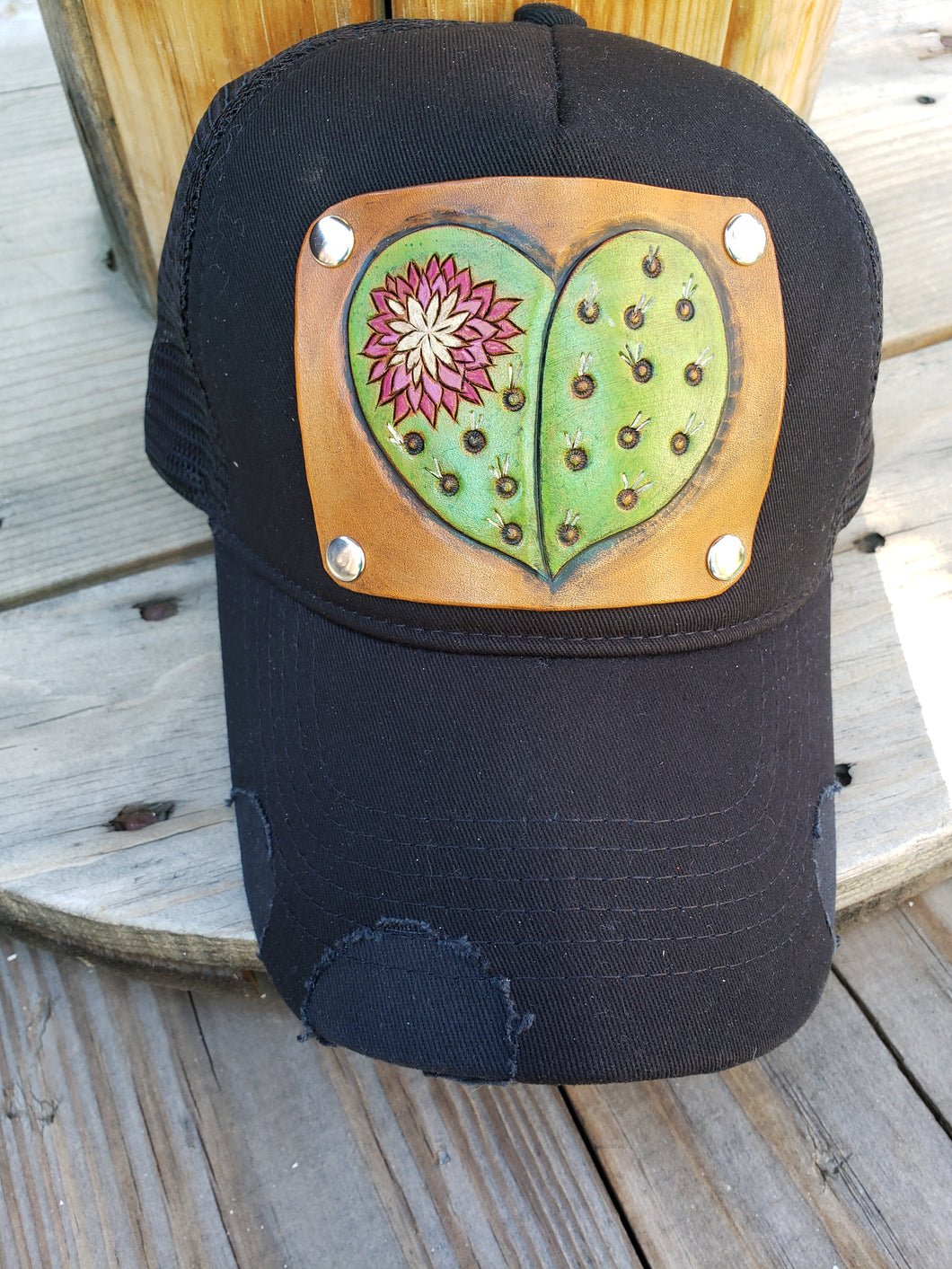 Cactus heart tooled leather hat