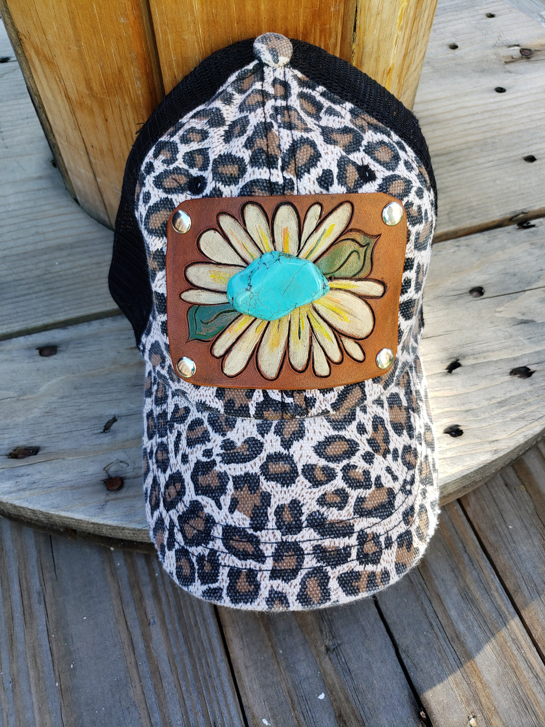 Daisy tooled leather hat