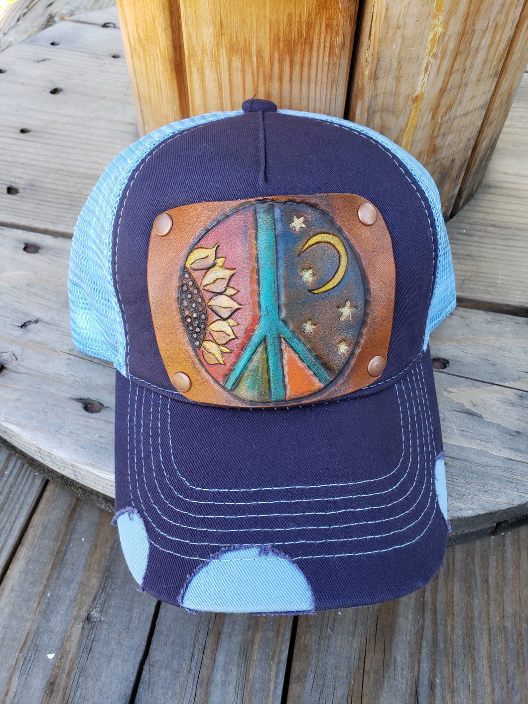 Peace tooled leather hat