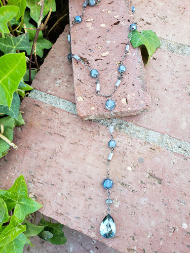 Denim crystal lariat necklace